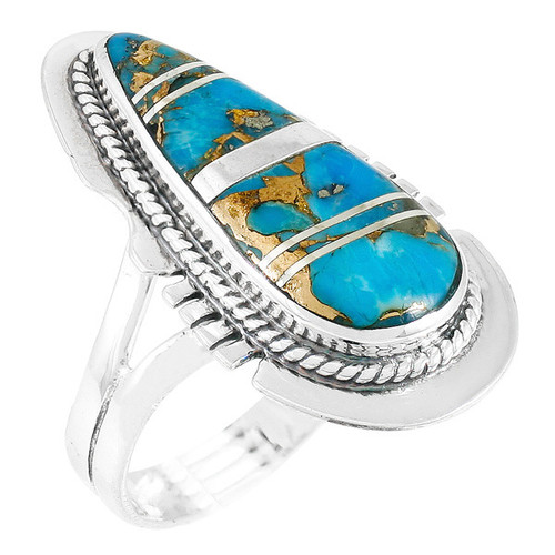 Matrix Turquoise Ring Sterling Silver Size 9