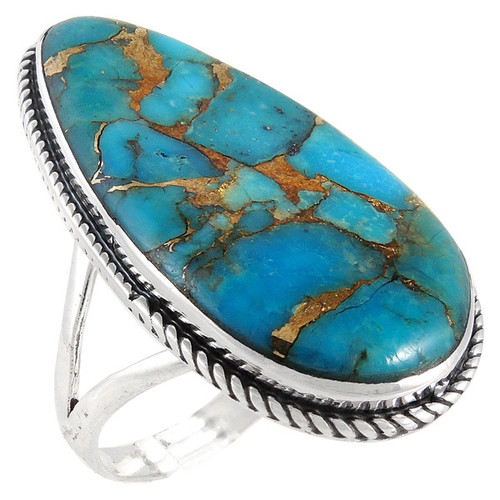 Matrix Teardrop Turquoise Ring Sterling Silver Size 9