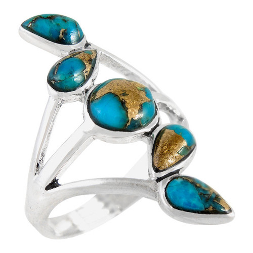 Matrix Turquoise Ring Sterling Silver