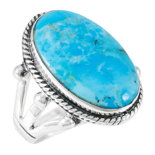 Turquoise Jewelry Ring Sterling Silver Size 10