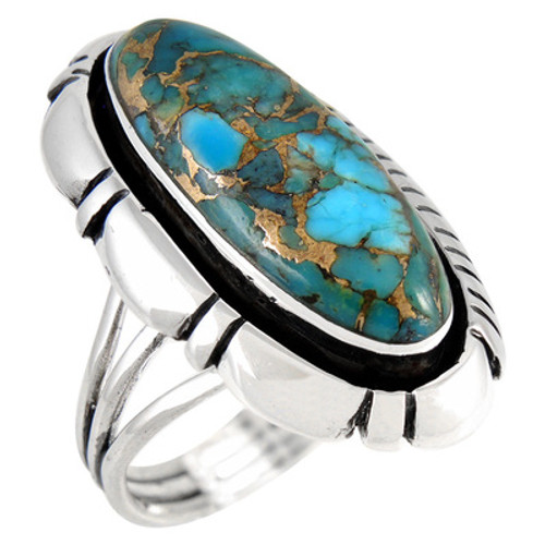 Matrix Turquoise Ring Sterling Silver Size 8