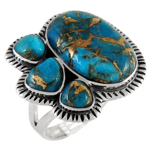 Matrix Turquoise Ring Sterling Silver Size 7