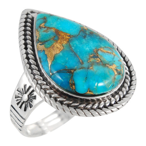 Matrix Turquoise Teardrop Ring Sterling Silver Size 9