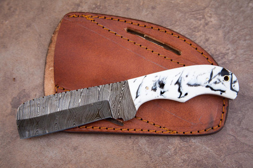 """10"""" Inch Custom Handmade Forged Damascus Steel Hunting Bowie Tracker Knife Fixed Blade Resin Handle With Leather Sheath Full Tang Tanto"""
