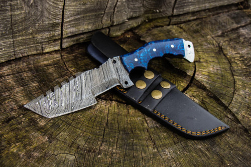 """10"""" Inch Custom Handmade Forged Damascus Steel Hunting Bowie Tracker Knife Fixed Blade Resin Handle With Leather Sheath Full Tang"""