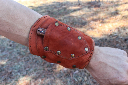 Handmade Black Leather Wrist  Cuff Sheath