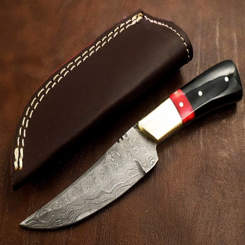 Black and Red Pakawood Damascus Hunter