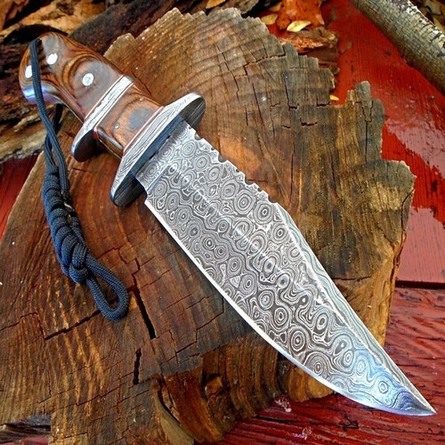 12.75 Inch Upswept Damascus Bowie