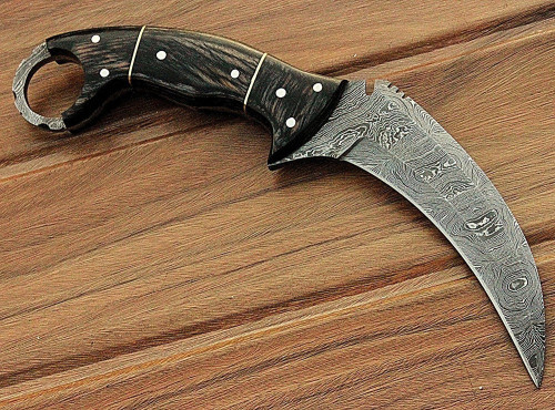 Custom Hand Made Damascus 9 inches Karambit Knife