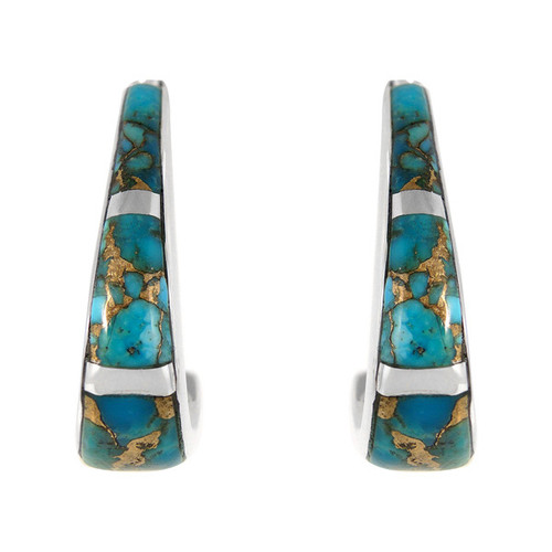 Sterling Silver Matrix Turquoise Earrings