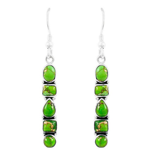 Green Turquoise Earrings Sterling Silver