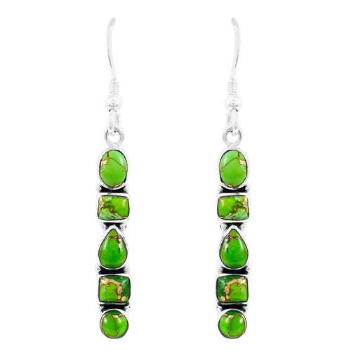 Green Turquoise Earrings Sterling Silver