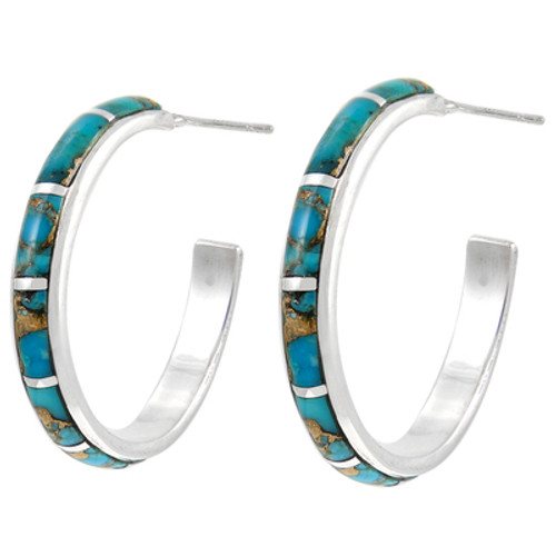 Sterling Silver Hoop Earrings Matrix Turquoise