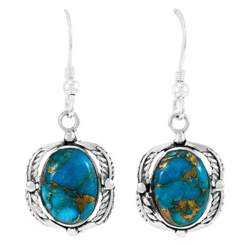 Matrix Turquoise Earrings Sterling Silver
