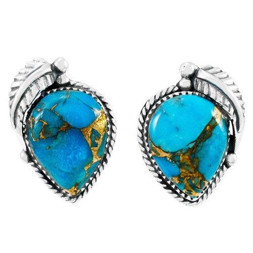 Matrix Turquoise Earrings Sterling Silver Studs