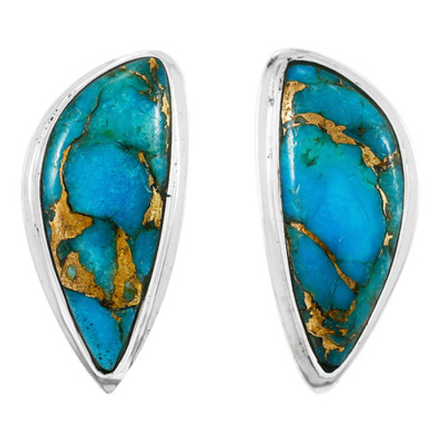 Turquoise Matrix Earrings Sterling Silver Studs