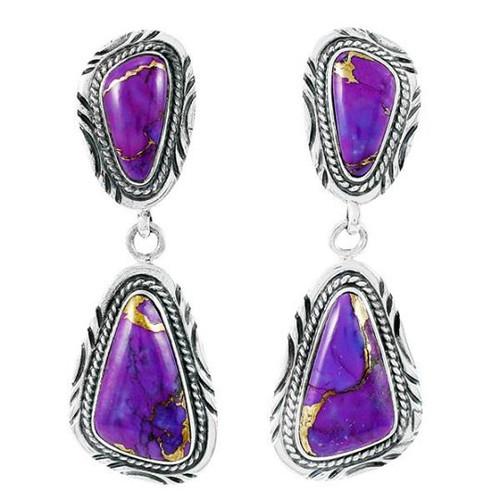 Sterling Silver Dangle Earrings Purple Turquoise