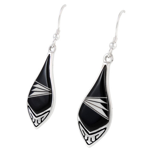 Sterling Silver Earrings Black & White Shell