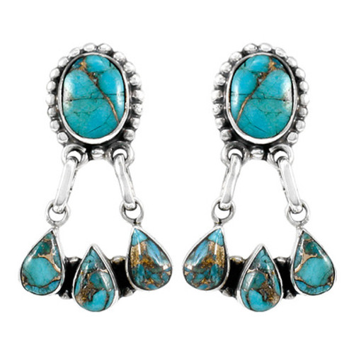 Sterling Silver Earrings With Matrix Turquoise