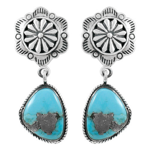 Sterling Silver Dangle Earrings Matrix Turquoise