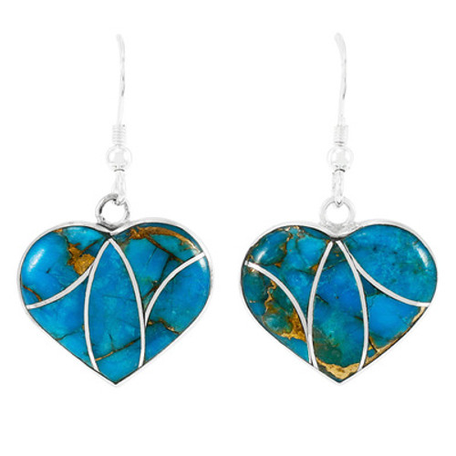 Matrix Turquoise Heart Earrings Sterling Silver