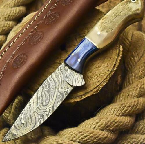 DAMASCUS STEEL BLADE FULL TANG KNIFE | RAM HORN