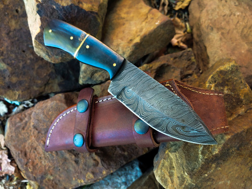 "8 1/4"" Buffalo Horn Damascus"
