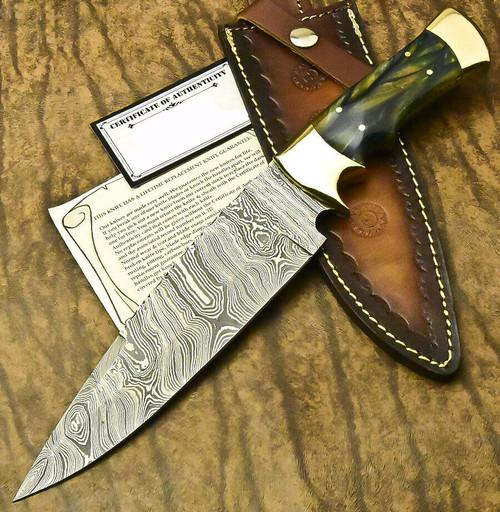 CUSTOM HANDMADE DAMASCUS STEEL FULL TANG KNIFE|GREEN CORIAN MATERIAL
