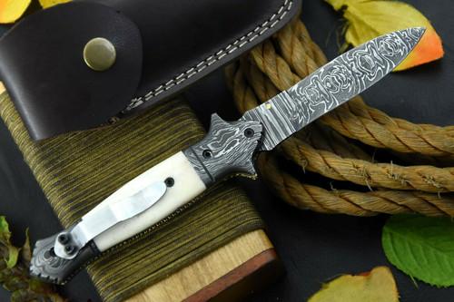 Custom Damascus Steel Clip Point Folding Knife Handmade,Camel Bone Handle