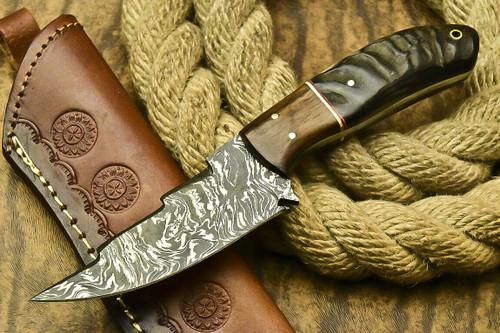 HANDMADE DAMASCUS STEEL BLADE FULL TANG KNIFE, RAM HORN