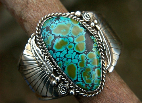 Size 10, 925 Solid Sterling Silver Natural Gemstone Turquoise Ring