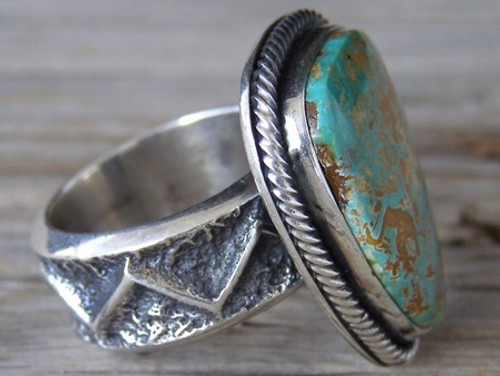 Size 7, Huge 925 Solid Sterling Silver Natural Gemstone Kevin Yazzie Kingman Turquoise
