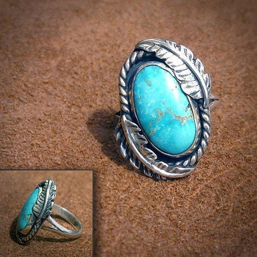 Size 8, 925 Solid Sterling Silver Natural Gemstone Turquoise Ring