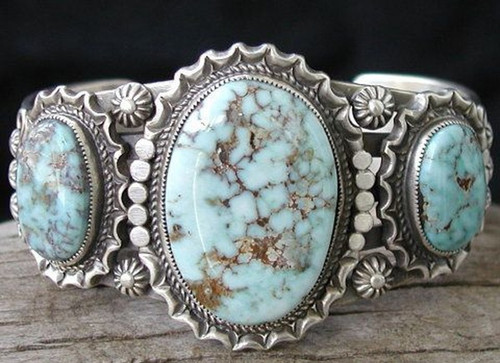 Size 11, Antique 925 Silver Natural Gemstone Turquoise Ring