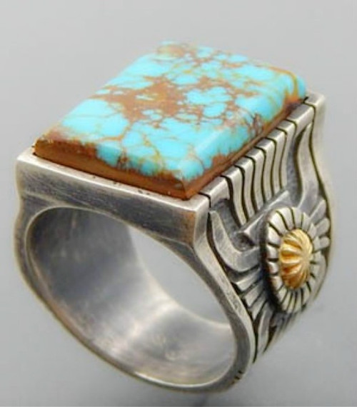 Size 12,  925 sterling silver 18K gold-plated two-color ring natural square turquoise gemstone