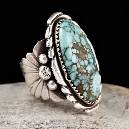 Antique 925 Sterling Silver Natural Turquoise Gemstone Floral Flower