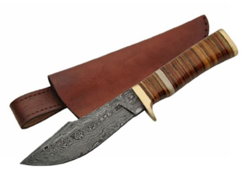 "9.5"" DAMASCUS LEATHER STACKED BOWIE"