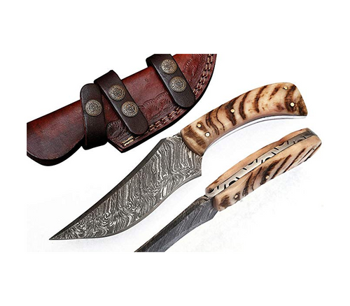 Handmade Damascus Steel Hunting Knife 8.5 Inches with Leather Sheath