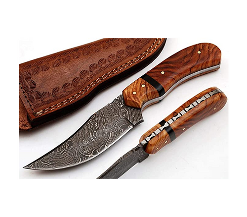 Handmade Damascus Steel Hunting Knife with Leather Sheath