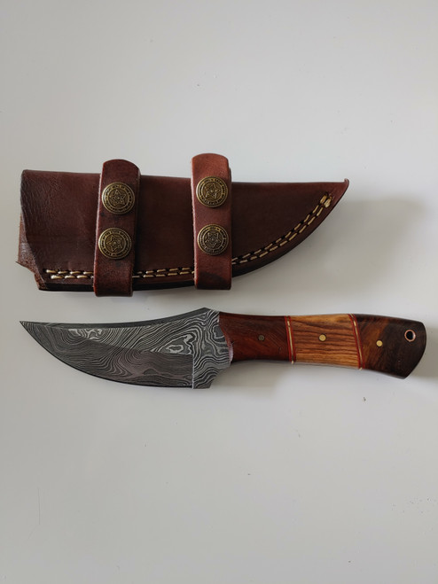 Handmade Damascus Steel Hunting Knife 8 Inches Fixed Blade Knife with Leather Sheath