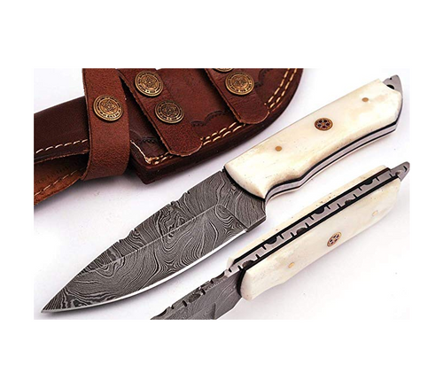 Handmade Damascus Steel Hunting Knife 8.5 Inches Camel Bone with Leather Sheath