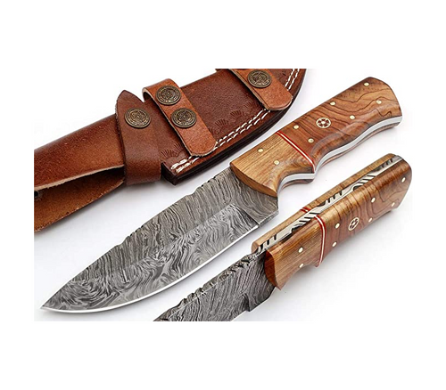 Handmade Damascus Steel Hunting Knife 9 Inches with Leather Sheath