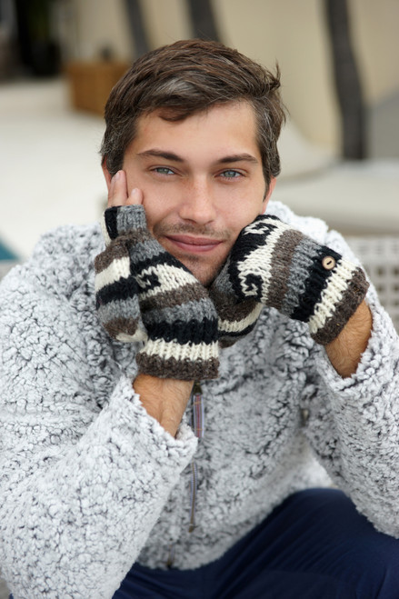 WOOL GLOVES HOODED LINED