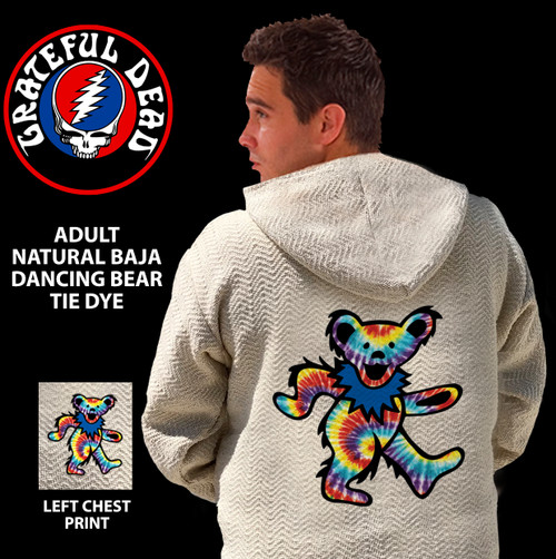 GRATEFUL DEAD NATURAL BAJA DANCING BEARS TIE DYE