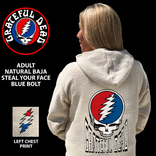 GRATEFUL DEAD NATURAL BAJA STEAL YOUR FACE BLUE BOLT