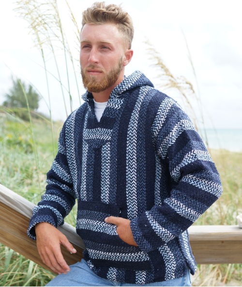 BAJA JOE MEXICAN HOODIE NAVY- EARTH RAGZ