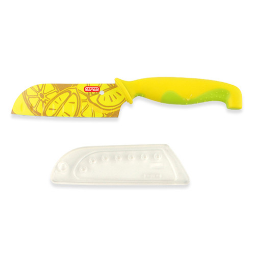 Slices lemons ease. Made of the finest high carbon stainless steel Protective sheath protects hands from sharp edge and knife from dulling. CAUTION: Sharp edges. Keep out of reach of children