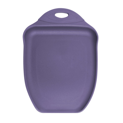 Slice & dice on this handy scoop shaped polypropylene cutting board. Ideal for juicy fruits & meats. Dishwasher safe.