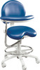 Premium Ergonomic Dental Operator Chair 9000 Series With Assistant stools features adjustable foot ring and ratcheted body support