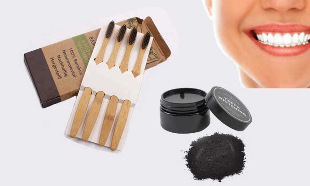 ORGANIC COCONUT CHARCOAL POWDER WITH ECO-FRIENDLY TOOTHBRUSHES (4-PACK)